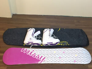 Woman's snow board and boots