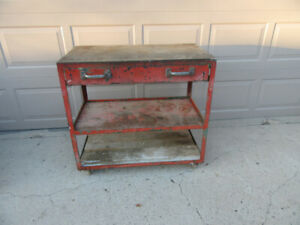 WORK BENCH ON WHEELS w/DRAWER - LARGE - HEAVY