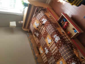 Hard Pine wood bedroom set for toddler or child.  Bed + dressers