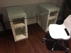Stylish White Study Table Desk, Glass Top, w Chair