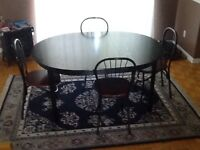 Black wooden kitchen table
