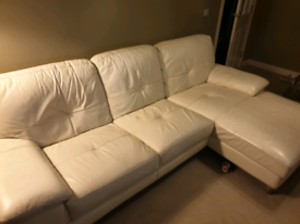 White L shape leather Couch