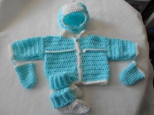 BRAND NEW HAND CROCHETED 3pc & 4pc BABY SWEATER SETS ON SALE