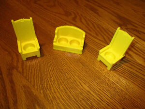 Vintage Fisher-Price Sofa and 2 high-back chairs  Miniature.