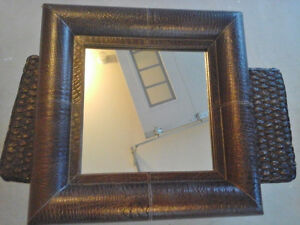 Pier 1 Embossed Leather Framed Mirror