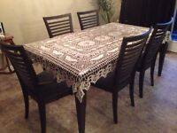Beautiful Solid Wood & Plate Glass Table