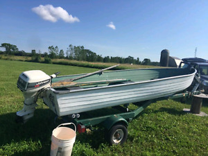 14' aluminum boat, 15hp motor and trailer