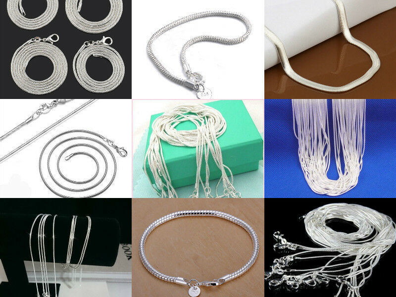 Fashion 925 Sterling Solid Silver 6MM Snake Chain Men Women Necklace 16-30 Inch