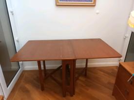 Mid Century extendable drop leaf teak dining table