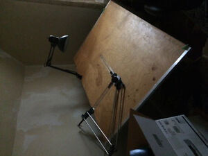 Drafting table, arm and light