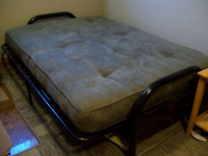 JYSK futon - olive green with black metal frame