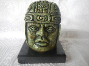 Mexican Mayan Crushed Malachite Head Figure Vintage