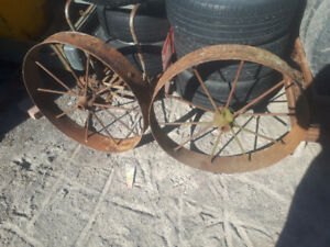 antique steel wheels for lawn art