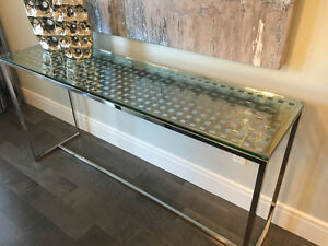 SHOWHOME FURNITURE - CHROME AND GLASS CONSOLE TABLE