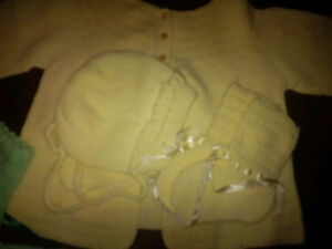 Yellow Knitted Baby Sweater, Bonnet and Booties