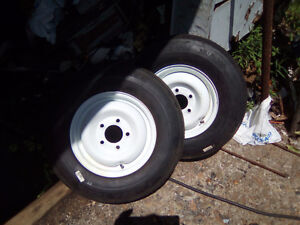 2 brand new 175-80-13 trailer tires+ rims-- 5 on 4 1/2 spacing