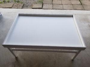 Handmade white Train /game table with storage bins