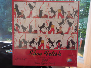 500 Piece Puzzle - Shoe fetish (and black kitten)  New in Box