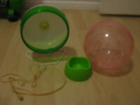 HAMSTER BALL, LEASH, BOWL AND WHEEL