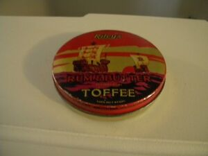 VINTAGE ROUND RILEY'S RUM & BUTTER TOFFEE TIN 5 OZS. NET WEIGHT