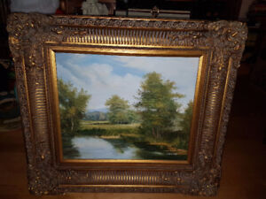 """Spectacular 20"""" by 24""""  landscape oil painting in a stunning Orn"""