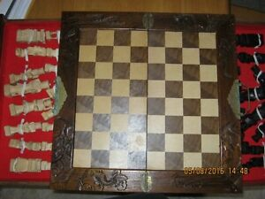 Vintage Handcrafted Chinese Wooden Chess Set