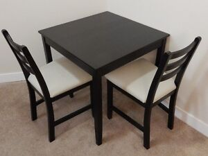 Dining Set - Compact, 2-chair, Ikea Black Wood Finish
