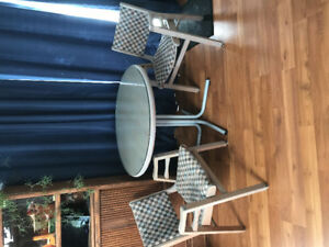 Glass Dining Room Table with 4 Chairs in CRESTON