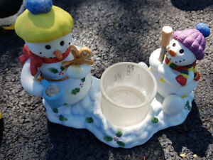 Party Lite Snowmen Toasting Marshmallows candle holder