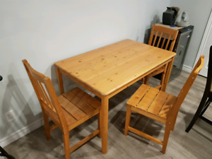 Pine Ikea Table and Chairs