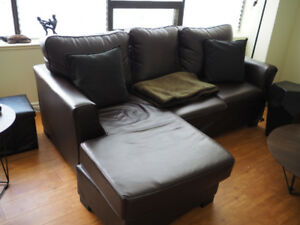 Black Leather Sofa w/ Adjustable Chaise