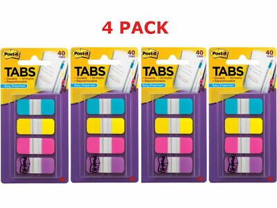 Post-it Tabs .625 X 1.5 Inches 4 Colors 10color 4 Packs Of 40dispenser
