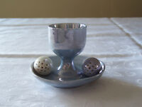 Egg cup and salt and pepper shakers