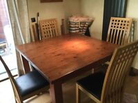 Large Family Table - Hand Made - Stained Pine - Six chairs - two leaves c