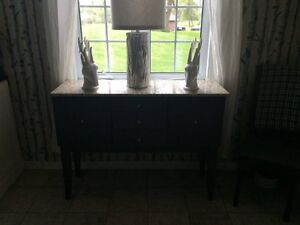 Dark wood sideboard with real, solid marble top