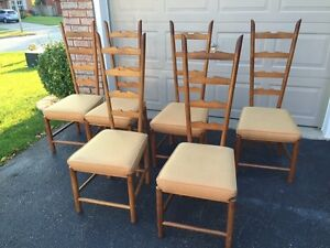 Mid Century teak ladder back chairs