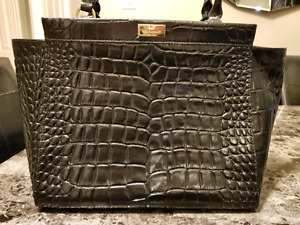 Kate Spade black crocodile embossed shoulder bag purse  handbag