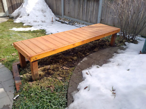 8 foot wooden bench for outdoors, $75 obo