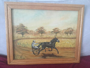 Horse and sulky painting. Oil on canvas