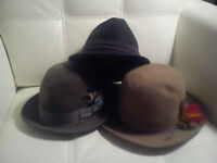 3 MENS FEDORA VINTAGE HATS WITH FEATHERS & LEATHER LINING