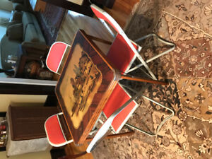 Vintage Card Table with metal chairs