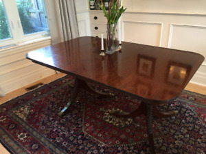 Dining room table (with 3 leaves) and 4 chairs (As-is)