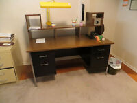 Laminate and Metal Office Desk with Hutch