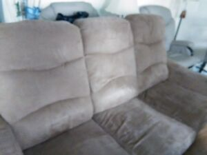 COUCH -  NO RIPS OR TEARS, EACH SECTION IS A RECLINER