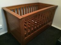 Mamas and Papas ocean range (dark oak) cot bed with chest of drawers/baby changer.