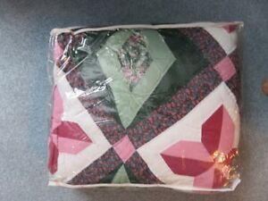 twin size green/burgundy quilt $30