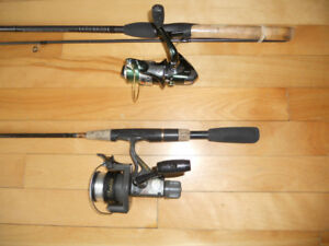 2 cannes et moulinets, Shimano Abu Gar, 2 fishing rods and reels