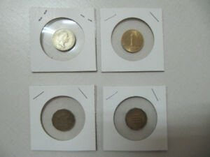 Classic 4pc Lot Of British Pence/Schilling/Pound Coins 1940-1985