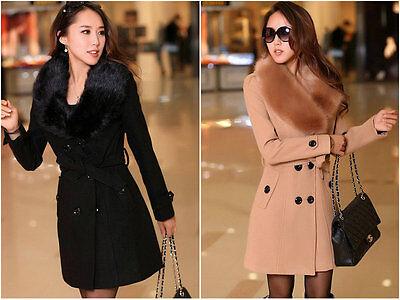 Women's Winter Coat Long Wool Jacket Fur Collar Slim Outwear Ladies Trench -