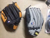 2 baseball gloves $30